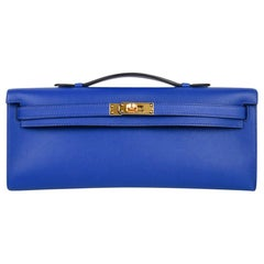 Hermes Kelly Cut Electric Blue Clutch Bag Gold Hardware Swift Leather
