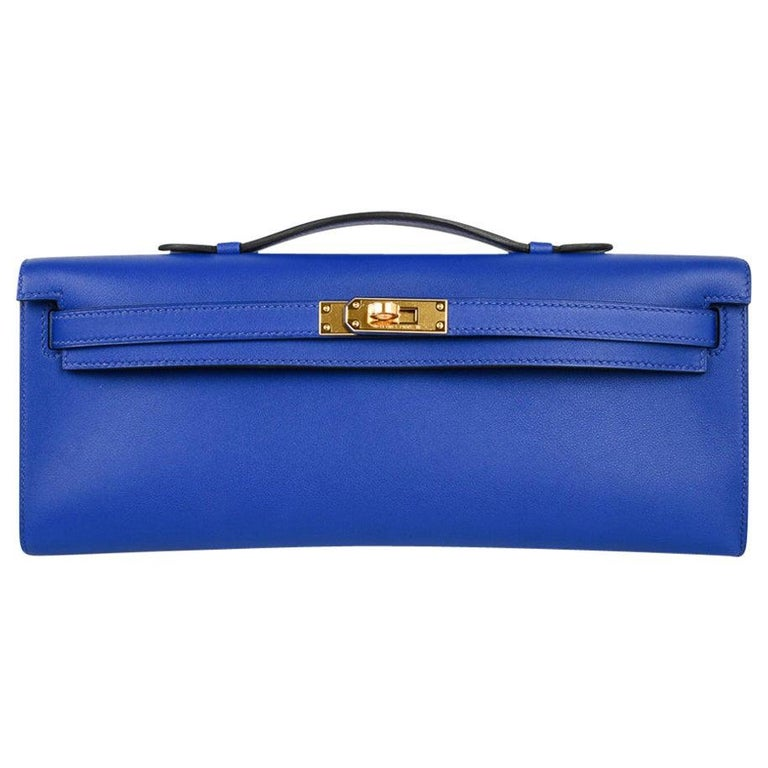 Hermes Kelly Cut Electric Blue Clutch Bag Gold Hardware Swift Leather For Sale