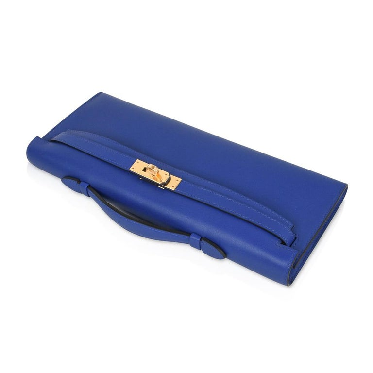 Purple Hermes Kelly Cut Electric Blue Clutch Bag Gold Hardware Swift Leather For Sale