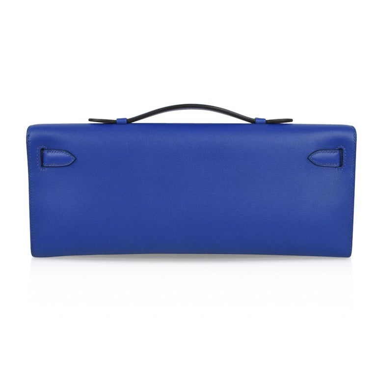Women's or Men's Hermes Kelly Cut Electric Blue Clutch Bag Gold Hardware Swift Leather For Sale