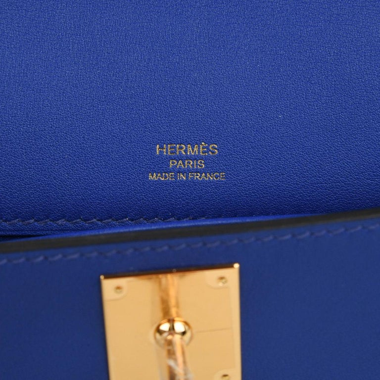 Hermes Kelly Cut Electric Blue Clutch Bag Gold Hardware Swift Leather For Sale 2