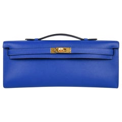 Hermes Kelly Cut Electric Blue Clutch Bag Swift Gold Hardware