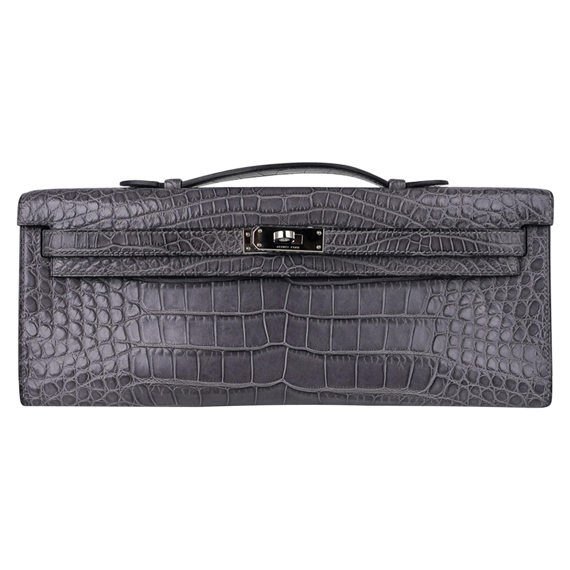 Hermes Kelly Cut Gris Paris Grey Matte Alligator Palladium Hardware Clutch Bag