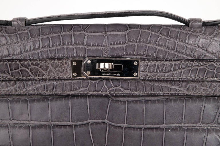Gray Hermes Kelly Cut Gris Paris Grey Matte Crocodile Palladium Bag  For Sale