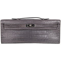 Hermes Kelly Cut Gris Paris Grey Matte Crocodile Palladium Bag
