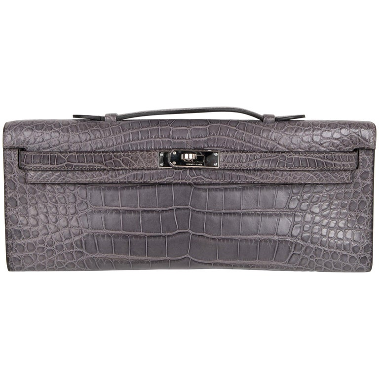 Hermes Kelly Cut Gris Paris Grey Matte Crocodile Palladium Bag  For Sale