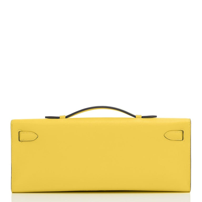 Guaranteed Authentic Hermes Kelly Cut Lime Swift Gold Hardware Y Stamp, 2020 Brand New in Box.  Store fresh.  Pristine condition (with plastic on hardware). Perfect gift!  Comes with Hermes sleeper, box and ribbon. Vibrant Fluo Lime is one of the