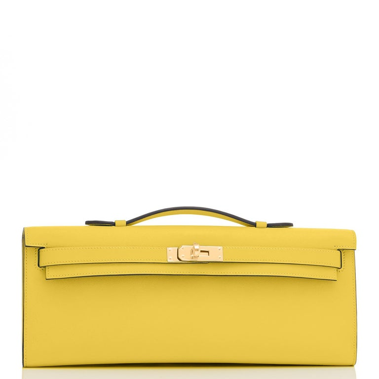 Hermes Kelly Cut Lime Swift Gold Hardware Y Stamp, 2020 In New Condition For Sale In New York, NY