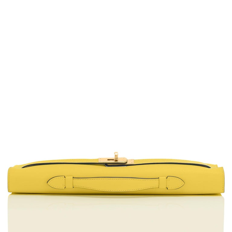 Hermes Kelly Cut Lime Swift Gold Hardware Y Stamp, 2020 For Sale 1
