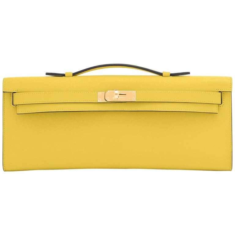 Hermes Kelly Cut Lime Swift Gold Hardware Y Stamp, 2020 For Sale