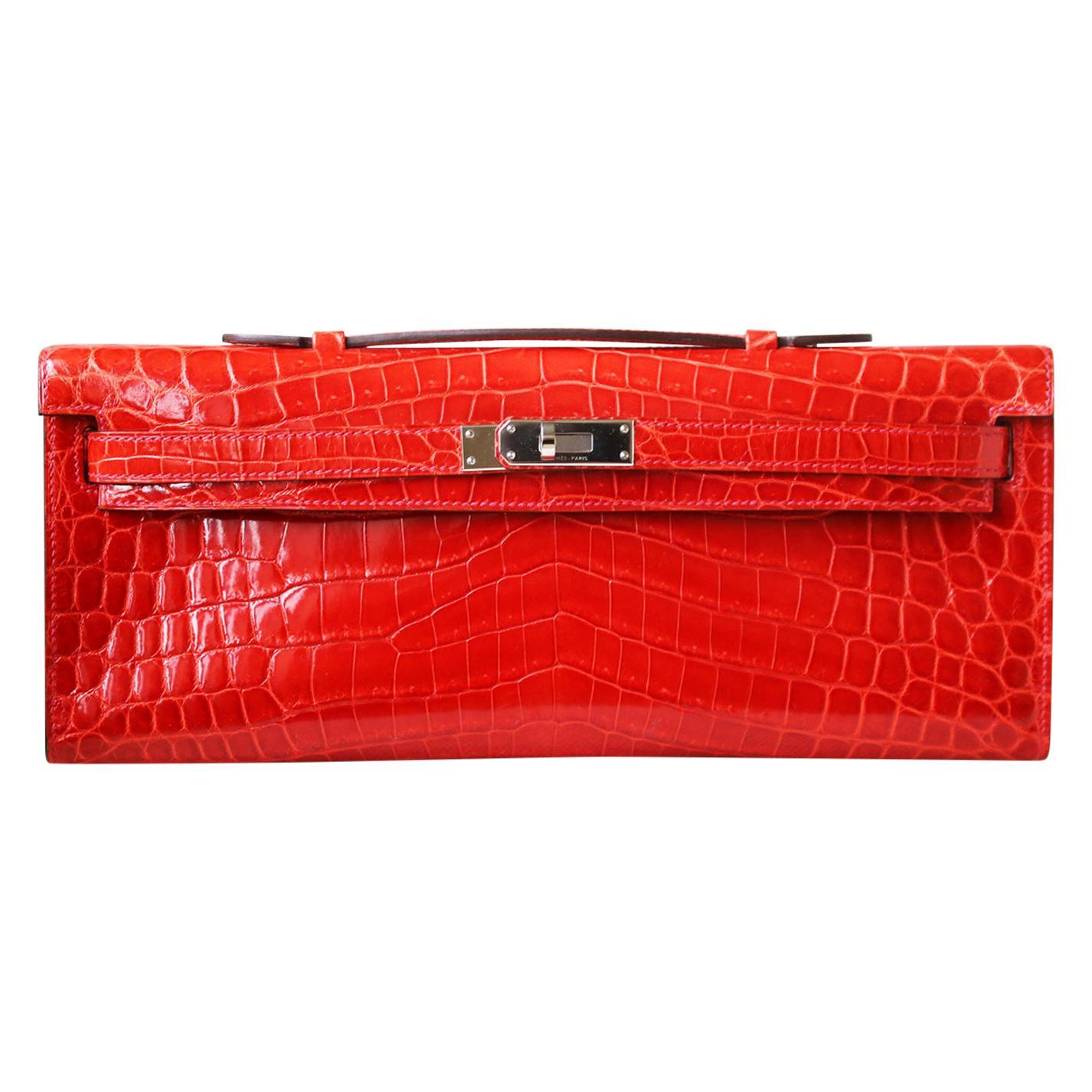 Hermès Kelly Cut Niloticus Crocodile Clutch with Palladium HDW
