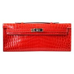 Hermès Kelly Cut Niloticus Crocodile Clutch with Palladium HDW
