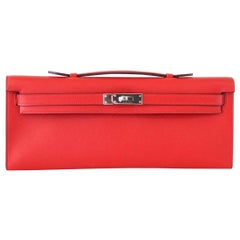 Hermes Kelly Cut Vermillion Red Clutch Bag Swift Palladium