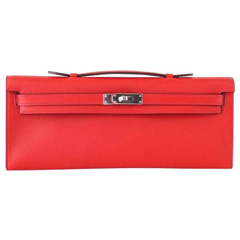 Hermes Kelly Cut Vermillion Red Clutch Bag Swift Palladium For Sale