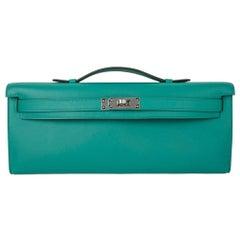 Hermes Kelly Cut Vert Verone Clutch Bag Swift Leather Palladium Hardware