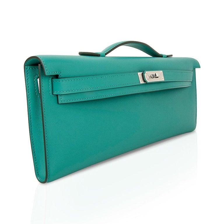 Blue Hermes Kelly Cut Vert Verone Clutch Bag Swift Leather Palladium Hardware