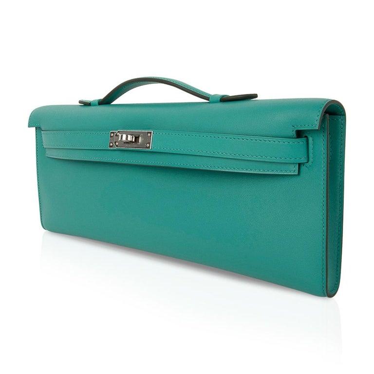 Women's Hermes Kelly Cut Vert Verone Clutch Bag Swift Leather Palladium Hardware