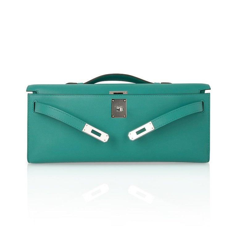 Hermes Kelly Cut Vert Verone Clutch Bag Swift Leather Palladium Hardware 1