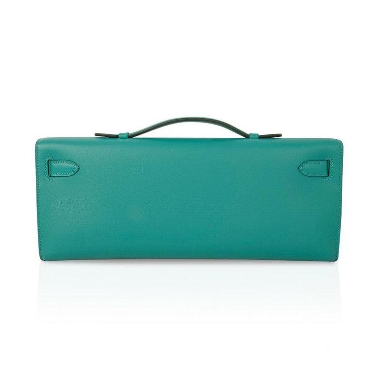 Hermes Kelly Cut Vert Verone Clutch Bag Swift Leather Palladium Hardware 2