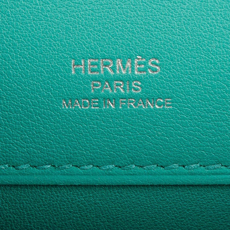 Hermes Kelly Cut Vert Verone Clutch Bag Swift Leather Palladium Hardware 4