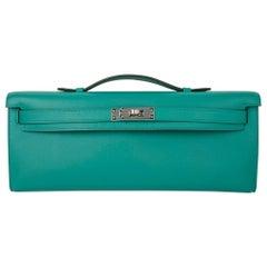 Hermes Kelly Cut Vert Verone Clutch Bag Swift Palladium
