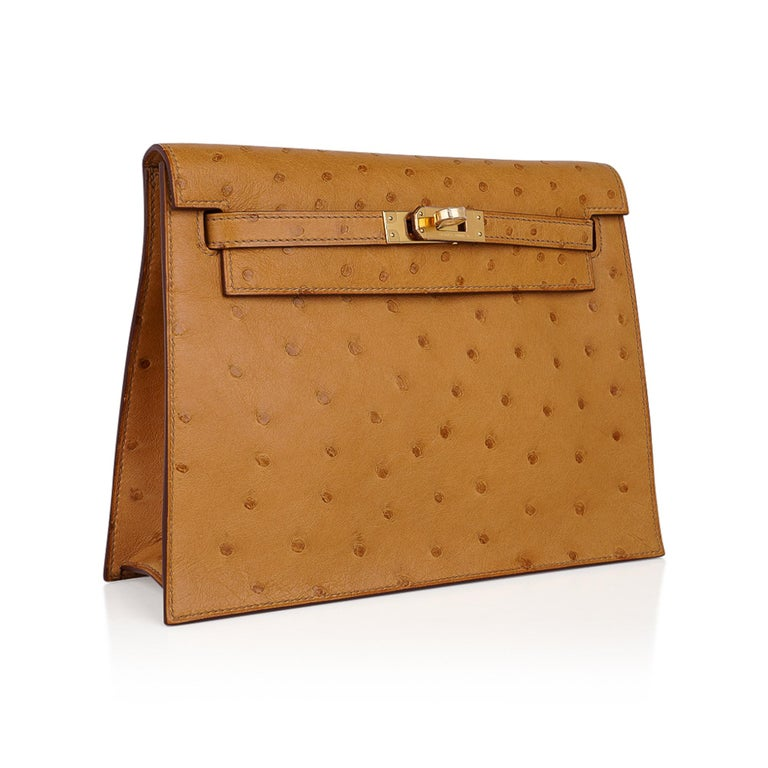 Hermes Kelly Danse Bag Tabac Camel Ostrich Gold Hardware New w/ Box In New Condition For Sale In Miami, FL