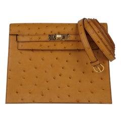 Hermes Kelly Danse Bag Tabac Camel Ostrich Gold Hardware New w/ Box