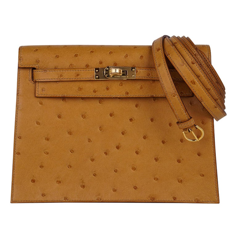 Hermes Kelly Danse Bag Tabac Camel Ostrich Gold Hardware New w/ Box For Sale
