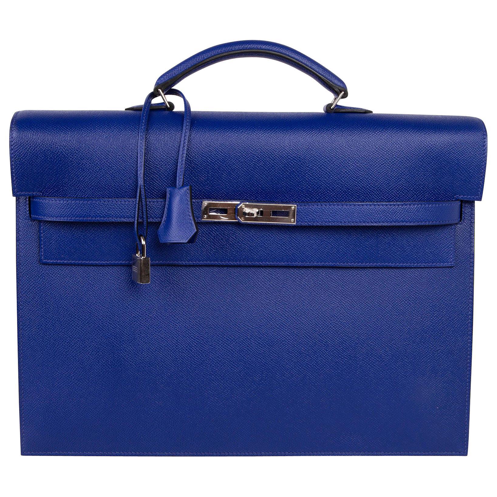Hermes Kelly Depeche 38 Briefcase Electric Blue Palladium Hardware