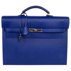 Hermes Kelly Depeche 38 Briefcase Electric Blue Palladium Hardware