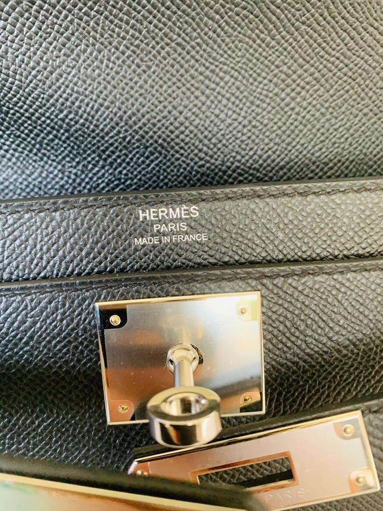 Hermes Kelly Depeche Black Pochette Epsom 25 Palladium For Sale 6