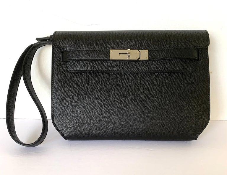 Hermes Kelly Depeche Black Pochette Epsom 25 Palladium For Sale 4