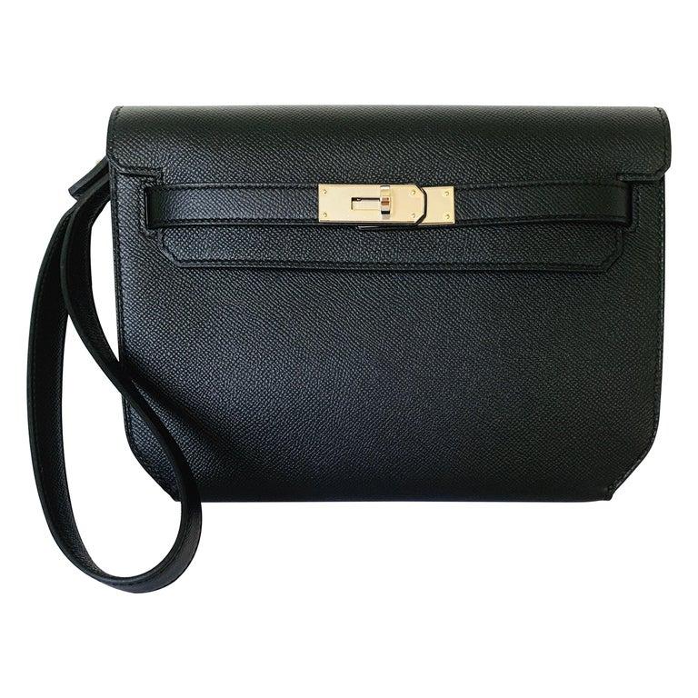 Hermes Kelly Depeche Black Pochette Epsom 25 Palladium For Sale