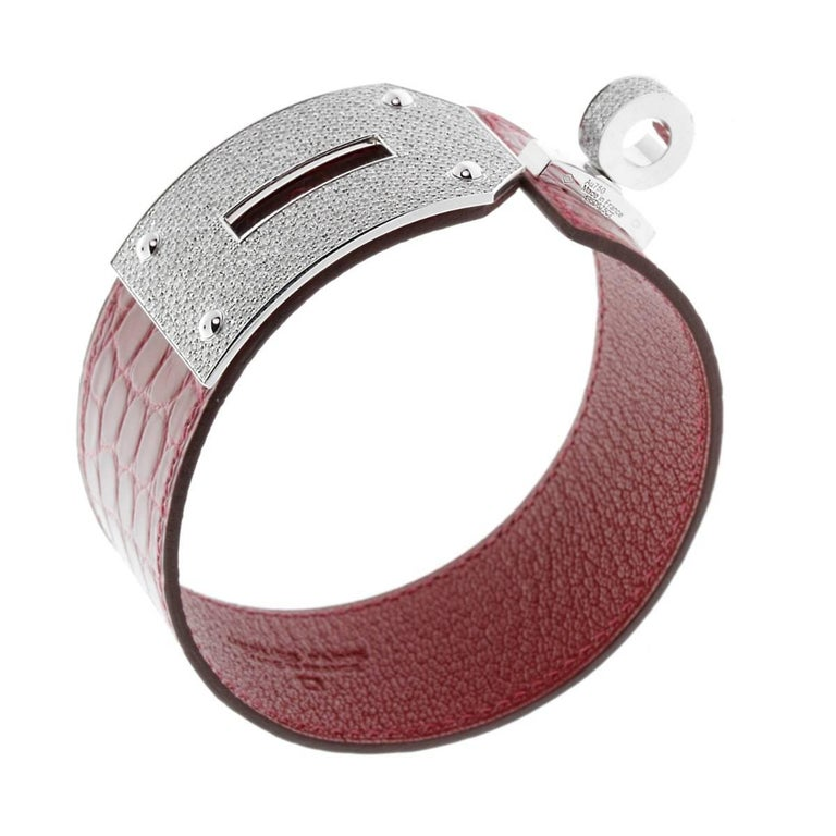 Round Cut Hermes Kelly Diamond Alligator Leather Bracelet For Sale