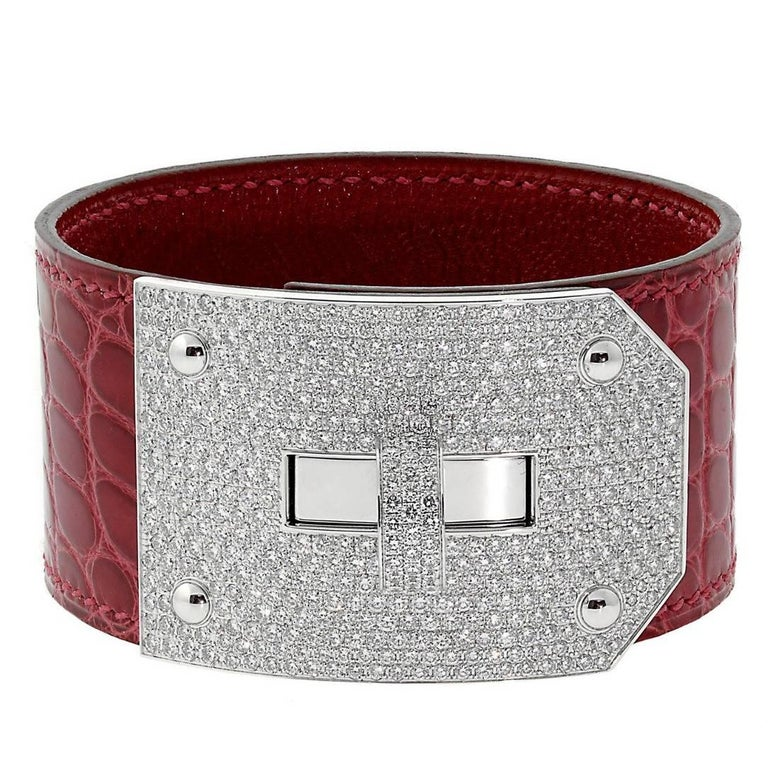 Hermes Kelly Diamond Alligator Leather Bracelet For Sale