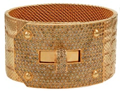 Hermes Kelly Diamond Rose Gold Wide Alligator Pattern Bracelet