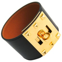Hermes Kelly Dog Black Leather Gold Plated Wide Bracelet S