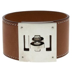 Hermes Kelly Dog Brown Leather Palladium Plated Wide Bracelet