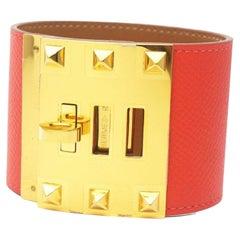 HERMES Kelly Dog extreme Veau Epson Womens bracelet Rouge Casaque