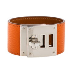 Hermes Kelly Dog Orange Epsom Leather Palladium Plated Wide Bracelet
