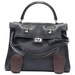 HERMES Kelly Doll 2000 black brown swift leather PHW micro top handle bag rare