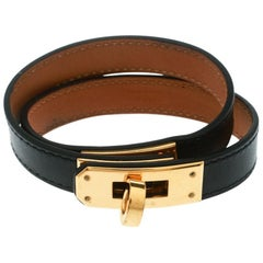 Hermes Kelly Double Tour Black Leather Gold Plated Wrap Bracelet M