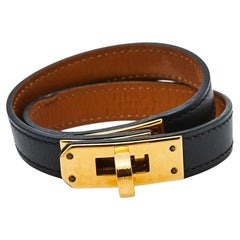 Hermès Kelly Double Tour Black Leather Gold Plated Wrap Bracelet S