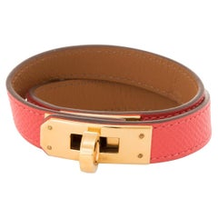 Hermes Kelly Double Tour Bracelet 2014 Yellow Gold Plate Pink Coral Leather