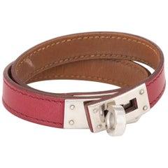 Hermès Kelly Double Tour Bracelet Palladium Plate Red Leather Estate Jewelry