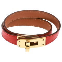 Hermes Kelly Double Tour Orange Leather Gold Plated Wrap Bracelet M