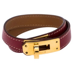 Hermes Kelly Double Tour Red Leather Gold Plated Wrap Bracelet