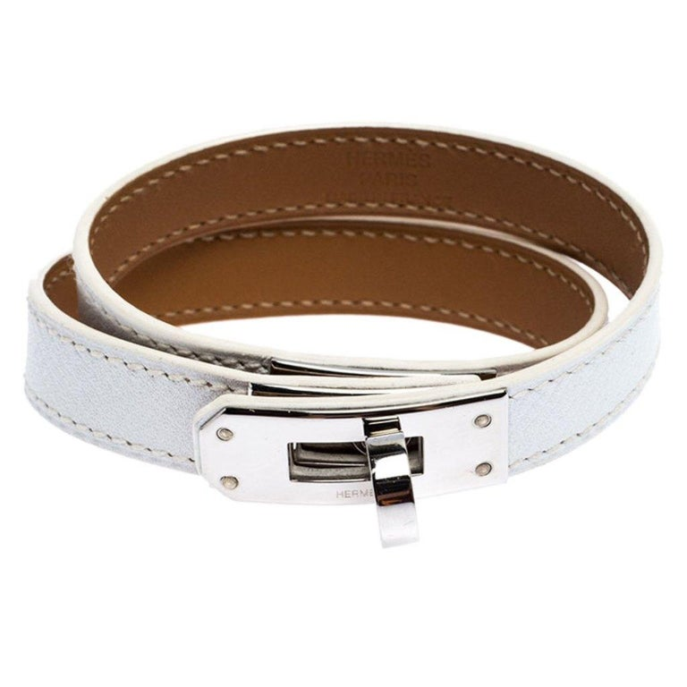 Contemporary Hermes Kelly Double Tour White Leather Palladium Plated Wrap Bracelet M For Sale