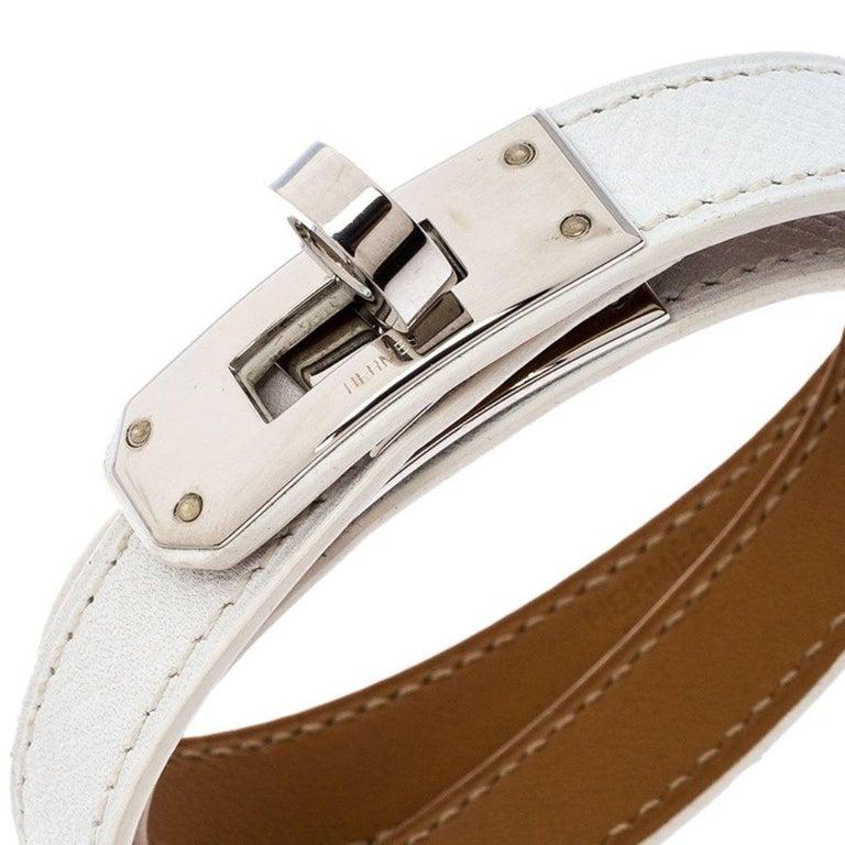 Women's Hermes Kelly Double Tour White Leather Palladium Plated Wrap Bracelet M For Sale