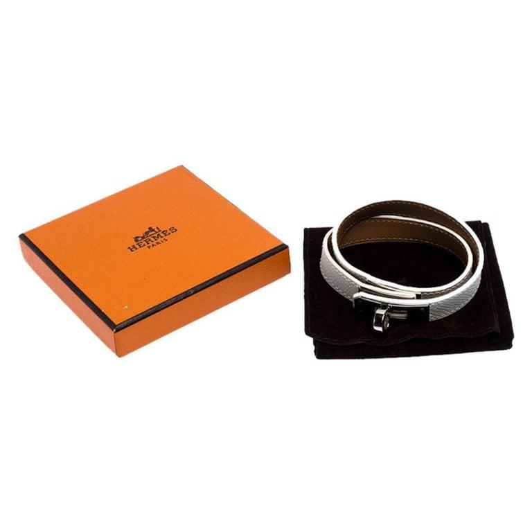 Hermes Kelly Double Tour White Leather Palladium Plated Wrap Bracelet M For Sale 2